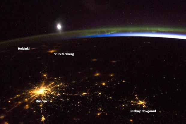 Вид ночной Москвы изкосмоса. Изображение № 1.