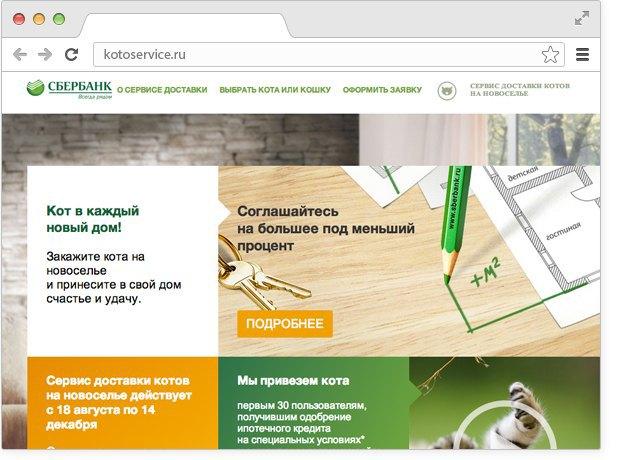 Сбербанк запустил сервис доставки котов нановоселье. Изображение № 2.