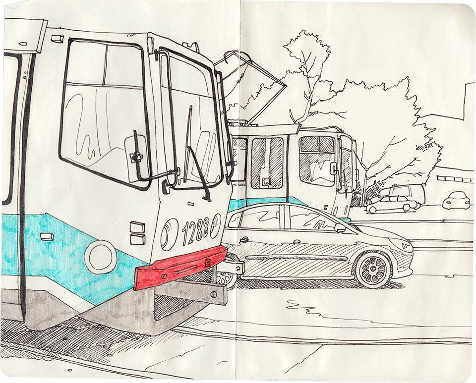 Клуб рисовальщиков: Московские трамваи. Изображение № 9.