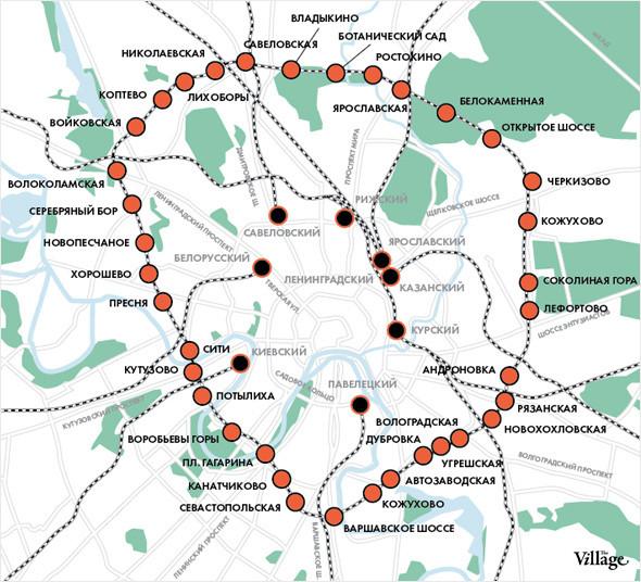 Такая схема движения электричек на Малом кольце МЖД будет запущена по планам РЖД уже к 2015 году. Изображение № 2.