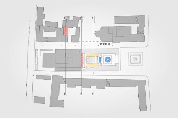 План Тверского проезда. Красный — ресторанная зона, жёлтый — летняя читальня, кружочки — озеленение. Изображение № 5.