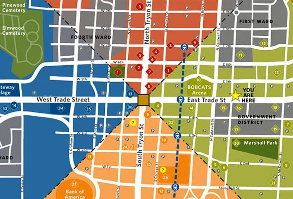 Один из лучших проектов Two Twelve — система навигации в Шарлотте (Южная Вирджиния). Город условно разбит на четыре сектора, каждому из которых присвоен свой цвет.. Изображение № 23.