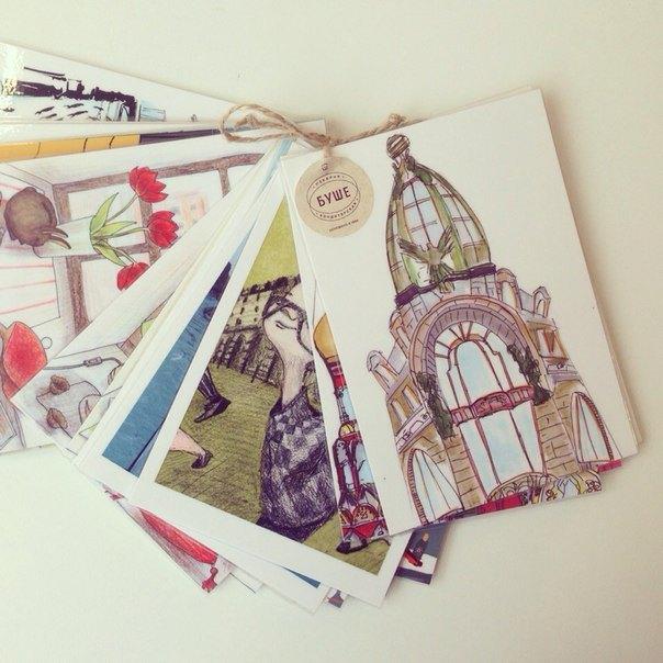 «Буше» выпустили сувенирные открытки силлюстрациями оПетербурге. Изображение № 3.