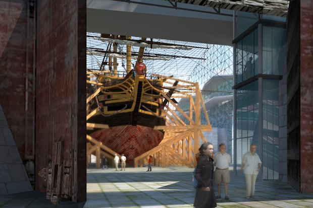 Вид на экспозицию «Старая верфь» из центральной части Крест-канала. Изображение № 8.