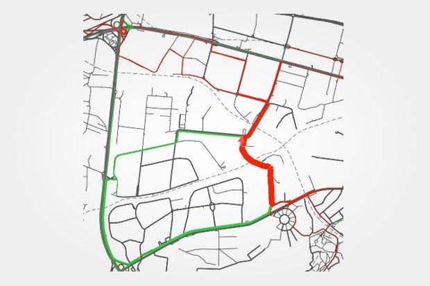 """Улицу, соединяющую ул. 6-ю Радиальную и Подольских Курсантов """"строят"""" в системе и смотрят, откуда на нее поедут машины. Изображение № 15."""