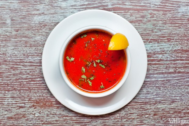 Таматар шорба (томатный суп с оригинальными приправами) — 160 рублей . Изображение № 13.