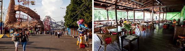 Старые аттракционы и кафе «Лебединое озеро» на территории парка