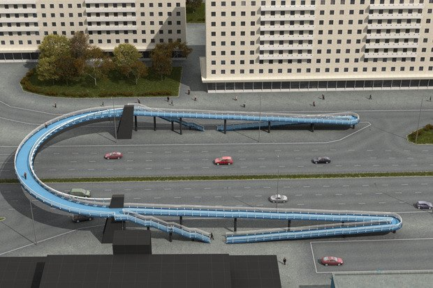 На проспекте Славы открылся «футуристичный» надземный переход. Изображение № 6.