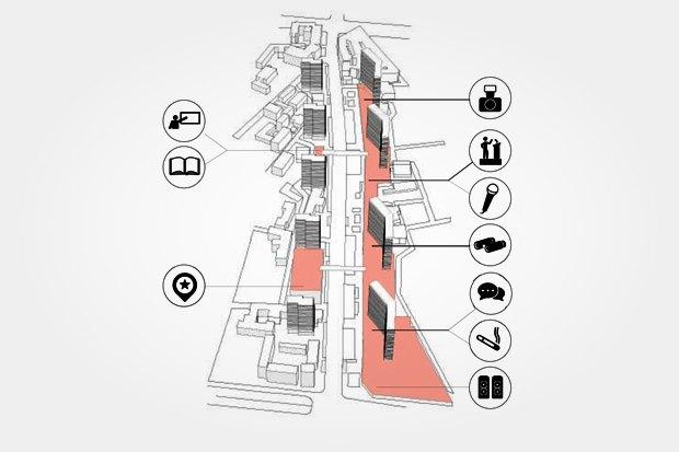 Крыши невысоких зданий Арбата можно использовать как общественные пространства. Изображение № 35.