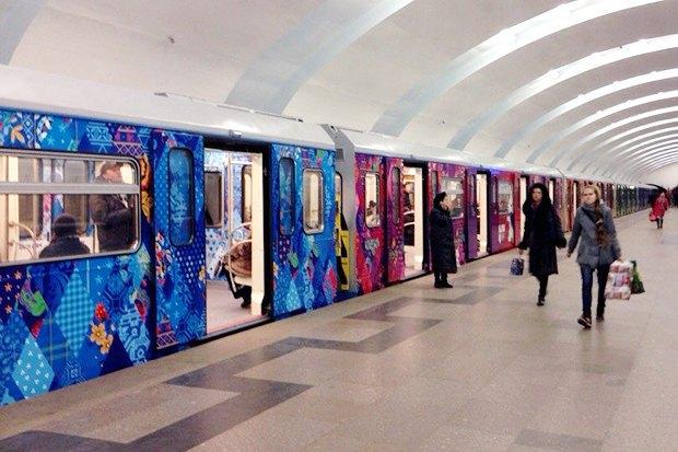 Фоторепортаж: Олимпийский поезд в московском метро. Изображение № 1.