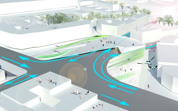 Кольцевое движение преобразуют в 4-фазовый перекрёсток, что позволит снизить транспортную напряжённость на площади.. Изображение № 1.