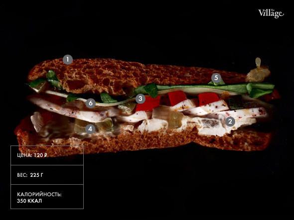 Изображение 14. Составные части: Cэндвич с курицей гриль и запечённым красным перцем из кафетерия Dome.. Изображение № 1.
