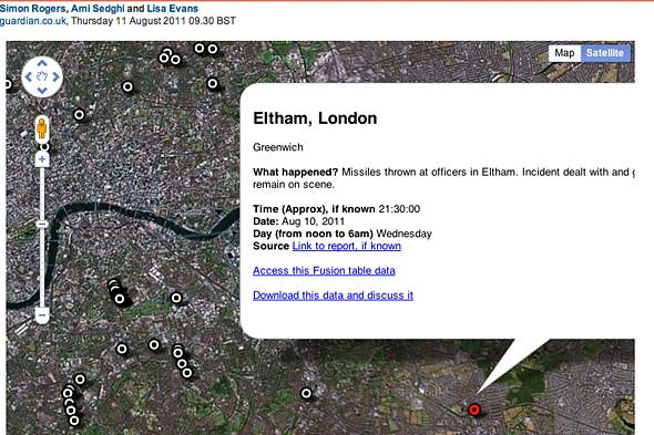 Интерактивная карта беспорядков на сайте The Guardian. Изображение № 4.