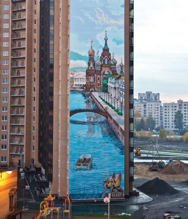 Самую высокую в России роспись брандмауэра сделали в «Новом Оккервиле». Изображение № 1.