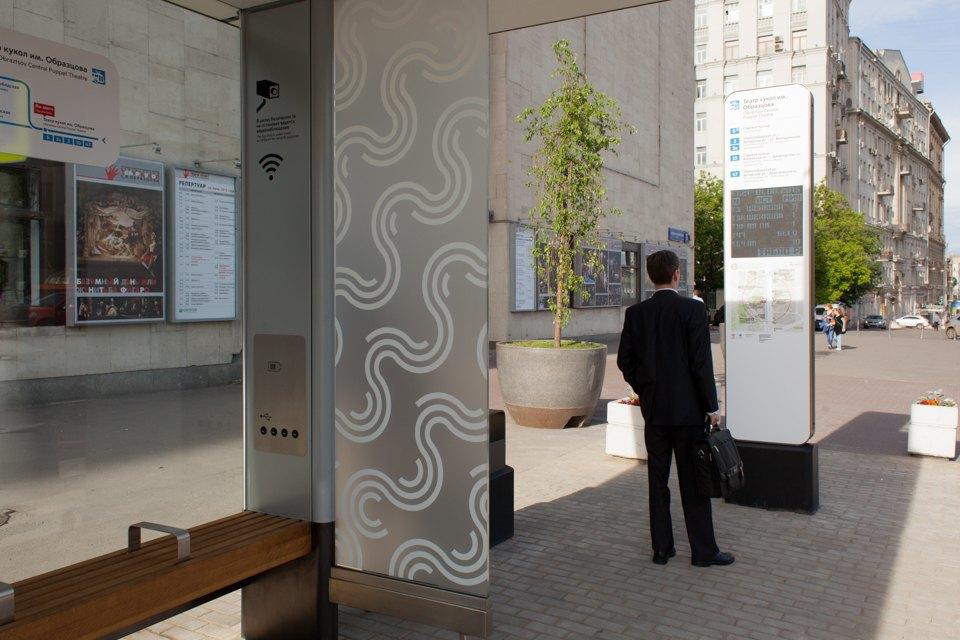 Wi-Fi, USB-порты и автомат попродаже билетов — вМоскве открыли современную остановку транспорта. Изображение № 8.