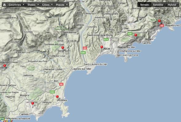 Карта южного побережья Франции