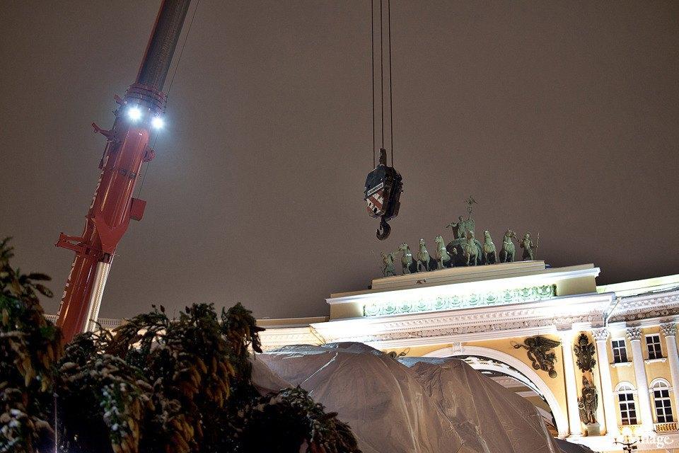 Фоторепортаж: Как устанавливали главную петербургскую ёлку. Изображение № 10.