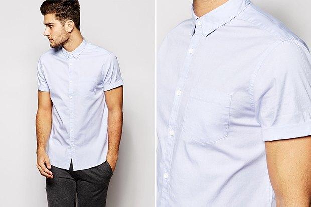 c200db69bb0886b Где купить мужскую рубашку: 6 вариантов от 1 600 до 7 000 рублей.  Изображение. Светлая рубашка с коротким рукавом ...