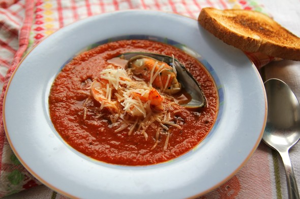 Томатный суп с морепродуктами. Изображение № 5.