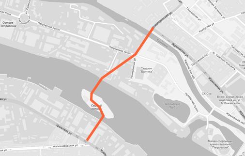 Новая схема движения транспорта между Васильевским островом и Петроградской стороной через Серный мост. Изображение № 1.