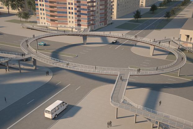 Надземный пешеходный переход на пересечении проспекта Славы и Будапештской улицы. Изображение № 6.