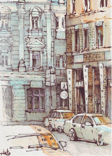 Выставка «Москва вэскизах LAM Sketching Club» впарке «Музеон». Изображение № 11.